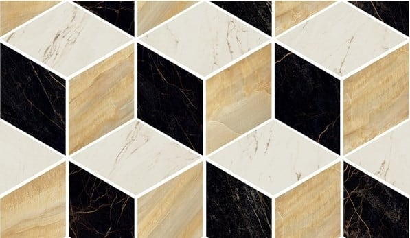 MARBLE Versace Home Mosaici T3 3D Nero/Oro/Bianco 240840