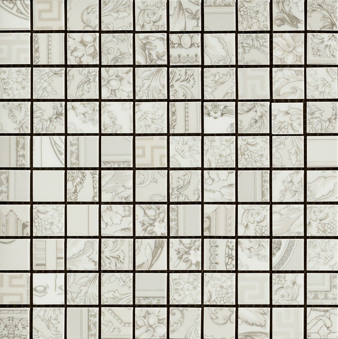 Gold Versace Home Mosaici Patchwork Bianco 68910